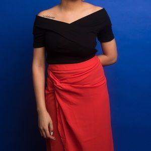 ASOS Red Wrap Skirt